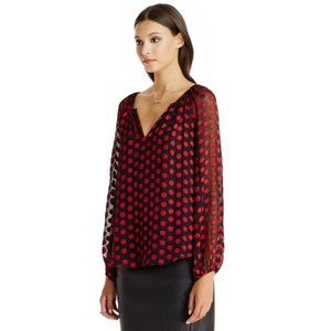 DVF polkat dot red and black silk blouse small
